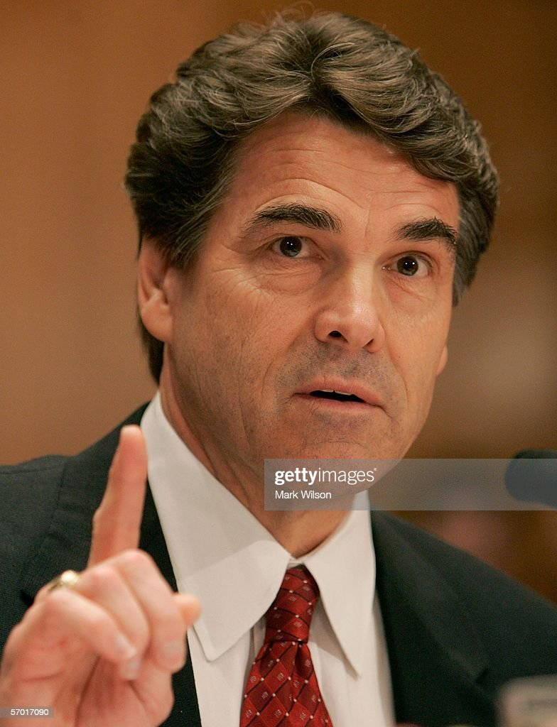 Texas Governor Rick Perry gestures as he speaks during a Senate Appropriations Committee hearing on Capitol Hill March 7 2006 in Washington DC The...