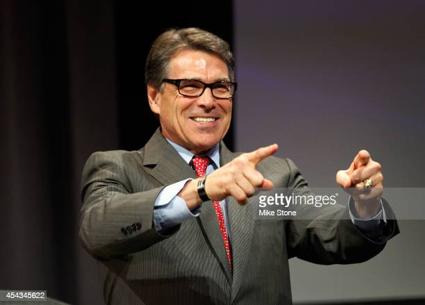 Texas Governor Rick Perry speaks at the Defending the American Dream Summit sponsored by Americans For Prosperity at the Omni Hotel on August 29 2014...