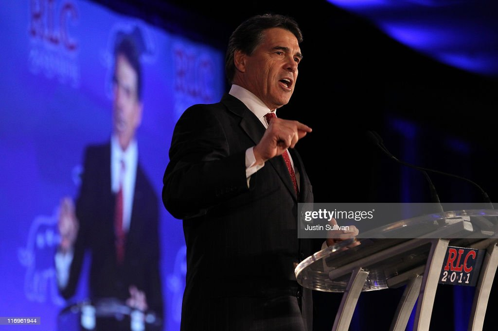 Texas governor Rick Perry speaks during the 2011 Republican Leadership Conference on June 18, 2011 in New Orleans, Louisiana. The 2011 Republican Leadership Conference features keynote addresses from most of the major republican candidates for president as well as numerous republican leaders from across the country.