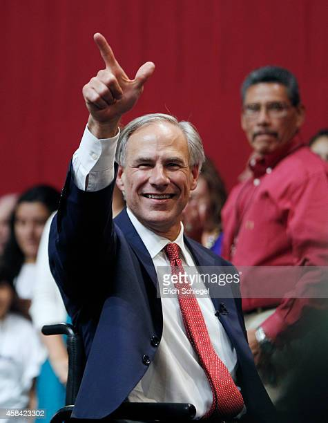 Texas Governorelect Greg Abbott celebrates during his victory party on November 4 2014 in Austin Texas Abbott defeated Democratic challenger Texas...