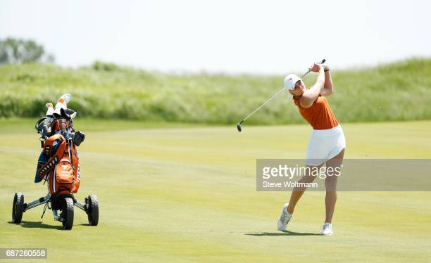 Texas' Greta Isabella Voelker hits her 2nd shot on the 11th fairway during play at the Division I Women's Golf Individual Championship held at Rich...