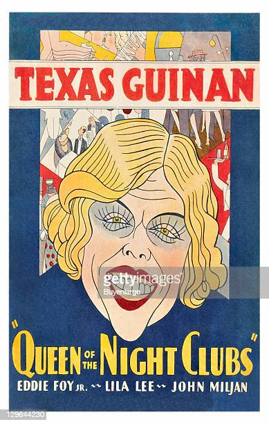 Texas Guinan on a poster that advertises the movie 'Queen of the Night Clubs' 1929