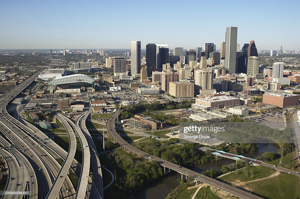 USA, Texas, Houston, dwontown, aerial view