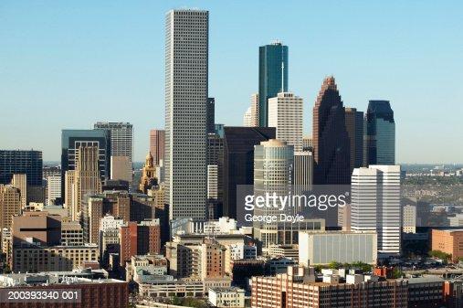 USA, Texas, Houston, dwontown, aerial view : Bildbanksbilder