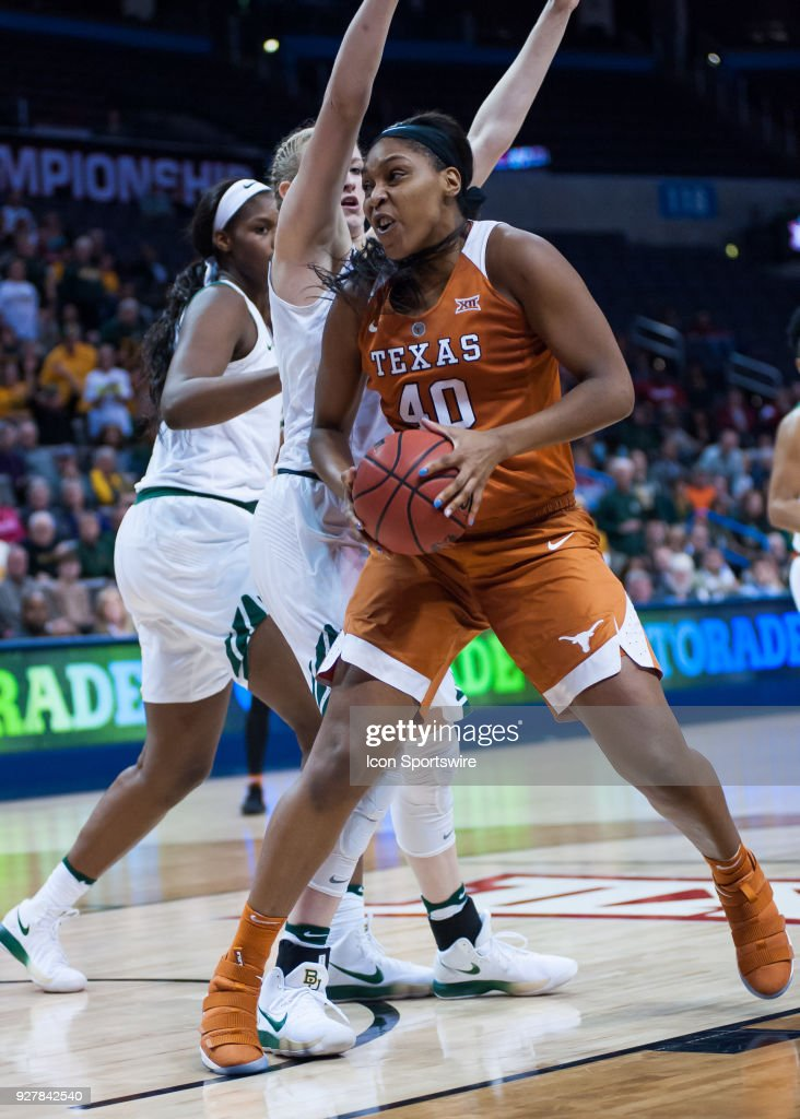 Texas (40) Jatarie White going up for two points versus Baylor during the Big 12 Women's Championship on March 05, 2018 at Chesapeake Energy Arena in Oklahoma City, OK.