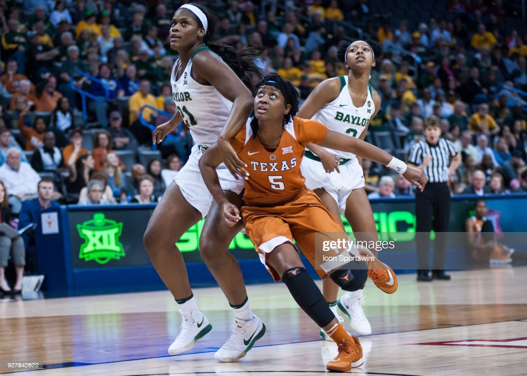 Texas (5) Jordan Hosey and Baylor (21) Kalani Brown blocking out during the Big 12 Women's Championship on March 05, 2018 at Chesapeake Energy Arena in Oklahoma City, OK.
