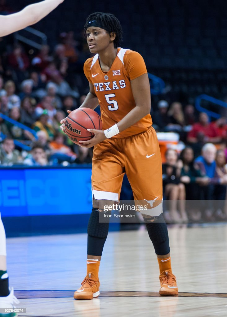 Texas (5) Jordan Hosey in game versus Baylor University during the Big 12 Women's Championship on March 05, 2018 at Chesapeake Energy Arena in Oklahoma City, OK.