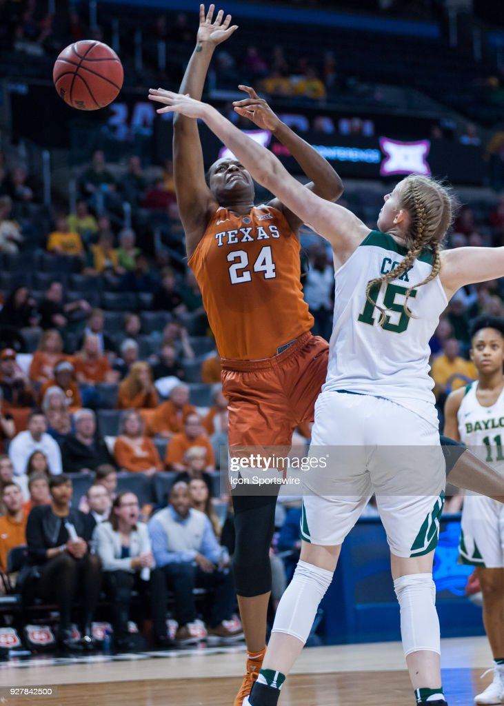 Texas (24) Joyner Holmes getting a shot blocked by Baylor (15) during the Big 12 Women's Championship on March 05, 2018 at Chesapeake Energy Arena in Oklahoma City, OK.