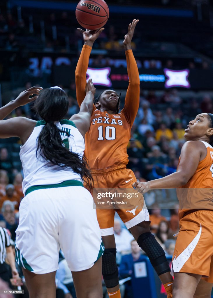 Texas (10) LaSahann Higgs going up for tow points versus Baylor during the Big 12 Women's Championship on March 05, 2018 at Chesapeake Energy Arena in Oklahoma City, OK.