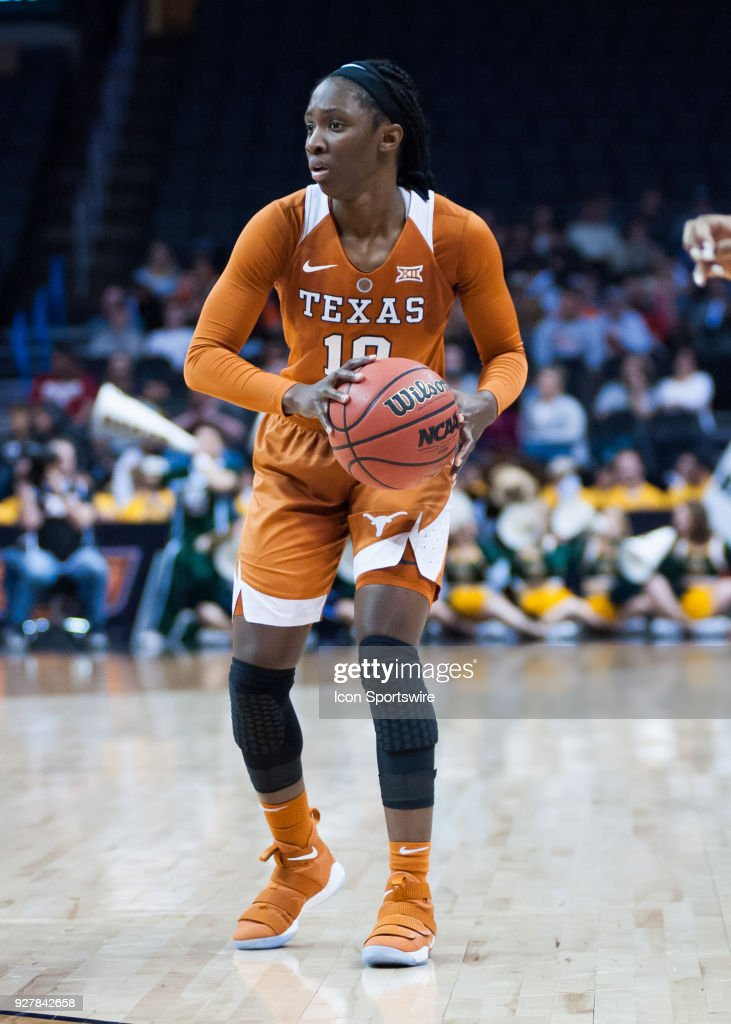 Texas (10) LaShann Higgs in game versus Baylor University during the Big 12 Women's Championship on March 05, 2018 at Chesapeake Energy Arena in Oklahoma City, OK.