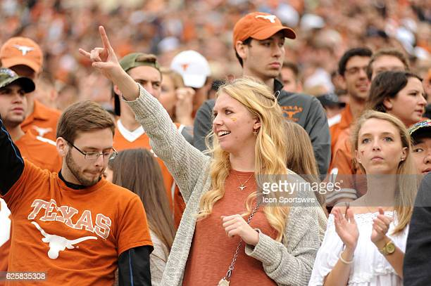 Texas Longhorn fan cheers during NCAA game featuring the Texas Longhorns and the TCU Horned Frogs on November 25 2016 at Darrell K Royal Texas...
