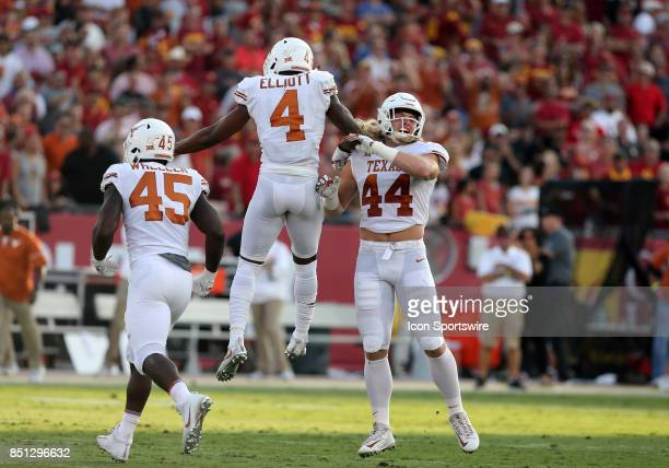 Texas Longhorns Anthony Wheeler Texas DeShon Elliott and Texas Breckyn Hager react during the game against the USC Trojanson September 16 at the Los...