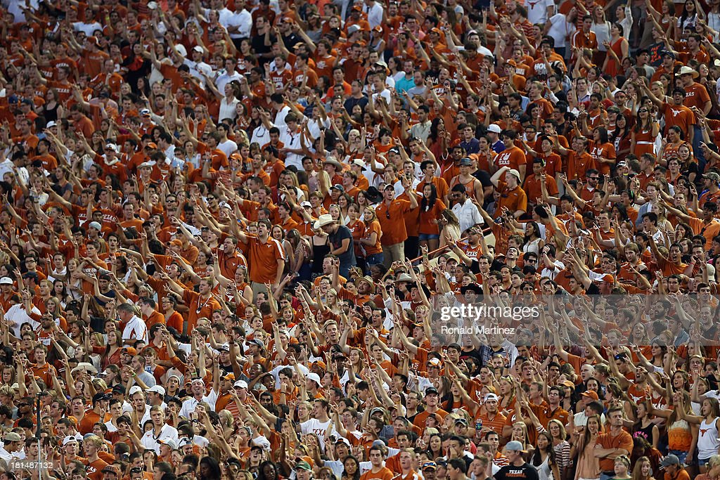 Texas Longhorns fans cheer during a game against the Kansas State Wildcats at Darrell K Royal-Texas Memorial Stadium on September 21, 2013 in Austin, Texas.