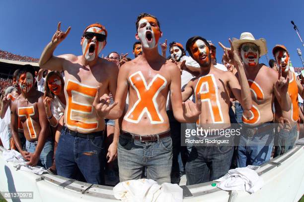 Texas Longhorns fans cheer during the game against the Oklahoma Sooners at Cotton Bowl on October 14 2017 in Dallas Texas
