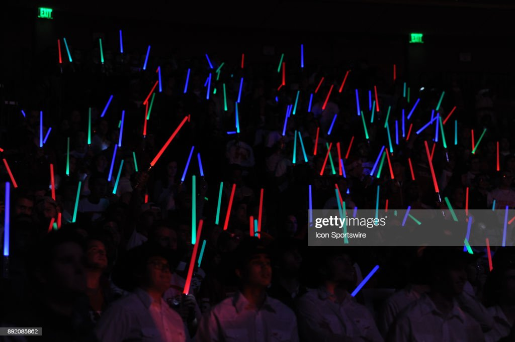 Texas Longhorns fans display light sabers on Star Wars night during the Texas Longhorns 59 - 52 loss to the Michigan Wolverines on December 12, 2017 at the Frank Erwin Center in Austin, TX.