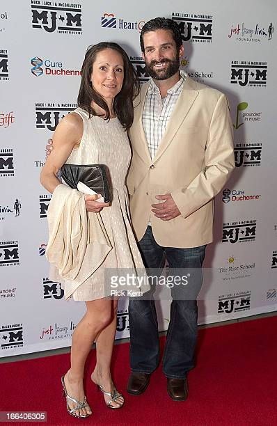 Texas Longhorns football defensive coordinator Manny Diaz and wife Stephanie Diaz arrive at the first Mack Jack McConaughey charity gala at ACL Live...