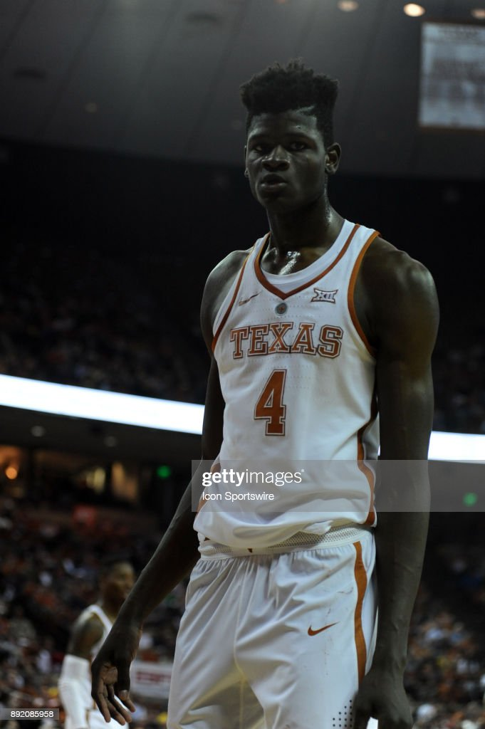 Texas Longhorns forward Mohamed Bamba waits for an inbound pass during 59 - 52 loss to the Michigan Wolverines on December 12, 2017 at the Frank Erwin Center in Austin, TX.