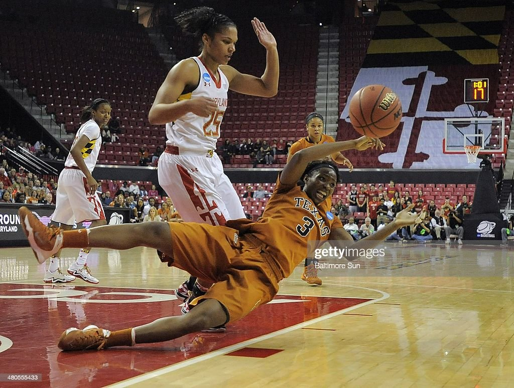 Texas Longhorns forward Nneka Enemkpali (3) loses the ball out of bounds in front of Maryland Terrapins forward Alyssa Thomas (25) during the second round of the NCAA Tournament in College Park, Md., on Tuesday, March 25, 2014.