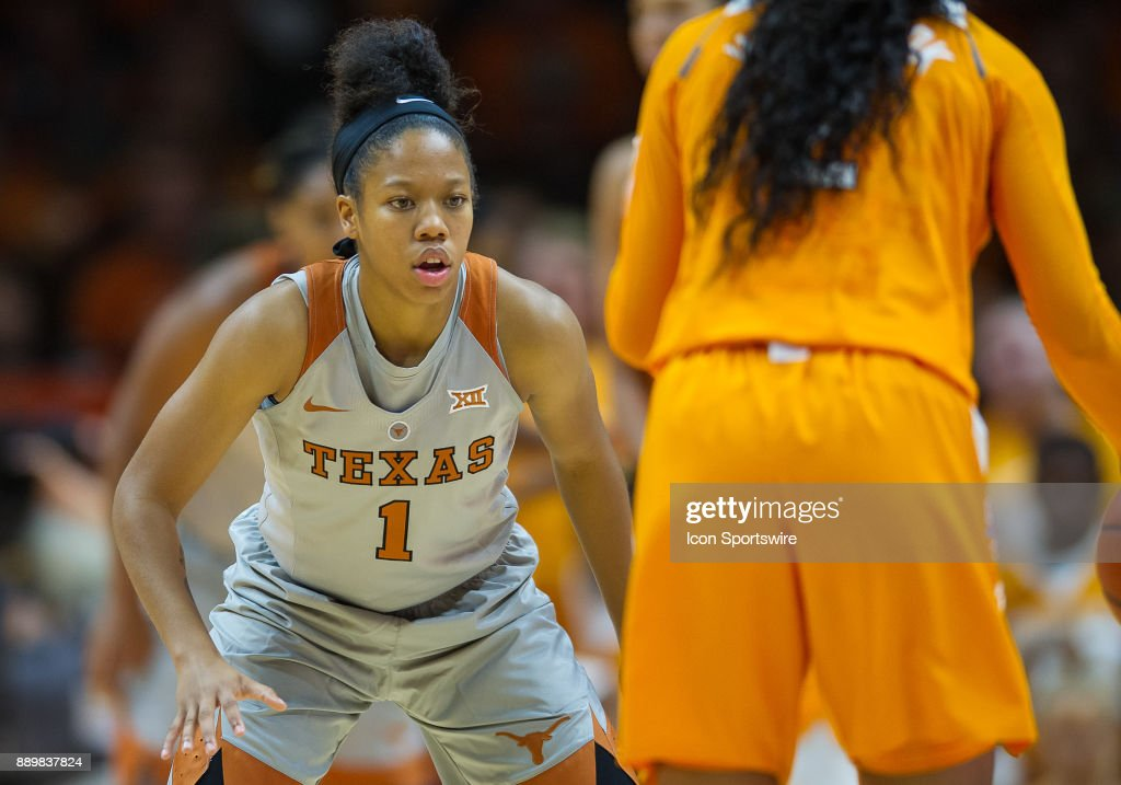 Texas Longhorns guard Alecia Sutton (1) playing defense against Tennessee Lady Volunteers guard Evina Westbrook (2) during a game between the Texas Longhorns and Tennessee Lady Volunteers on December 10, 2017, at Thompson-Boling Arena in Knoxville, TN. Tennessee defeated Texas 82-75.