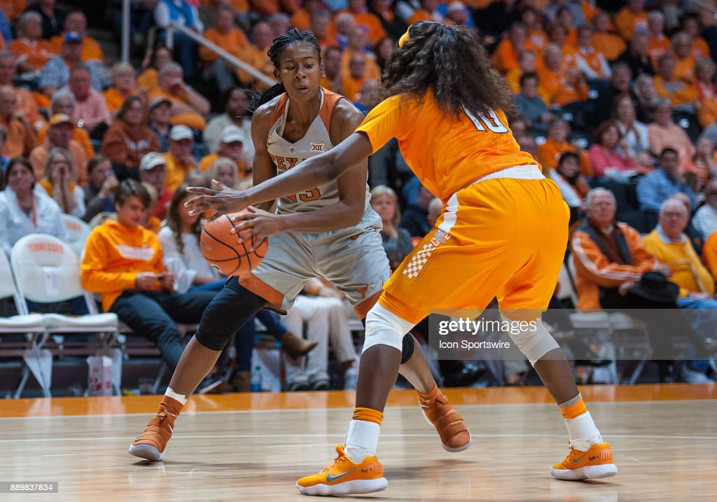 Texas Longhorns guard Ariel Atkins (23) looks to drive around Tennessee Lady Volunteers guard Meme Jackson (10) during a game between the Texas Longhorns and Tennessee Lady Volunteers on December 10, 2017, at Thompson-Boling Arena in Knoxville, TN. Tennessee defeated Texas 82-75.