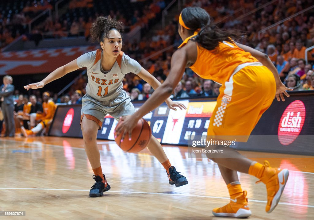 Texas Longhorns guard Brooke McCarty (11) playing defense on Tennessee Lady Volunteers guard Anastasia Hayes (1) during a game between the Texas Longhorns and Tennessee Lady Volunteers on December 10, 2017, at Thompson-Boling Arena in Knoxville, TN. Tennessee defeated Texas 82-75.