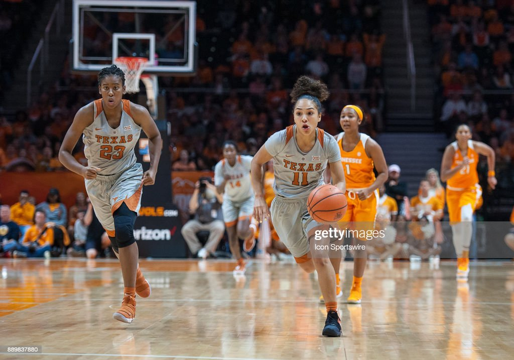 Texas Longhorns guard Brooke McCarty (11) pushes the ball up the court during a game between the Texas Longhorns and Tennessee Lady Volunteers on December 10, 2017, at Thompson-Boling Arena in Knoxville, TN. Tennessee defeated Texas 82-75.