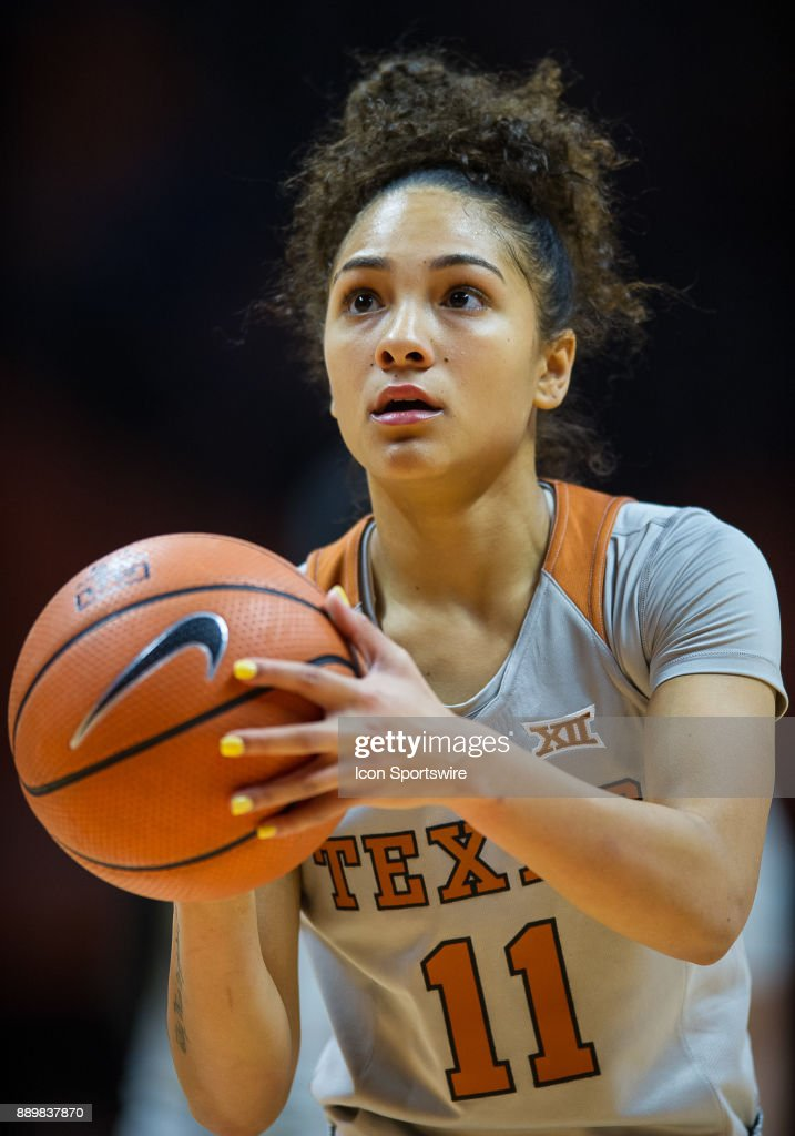Texas Longhorns guard Brooke McCarty (11) shooting a free throw during a game between the Texas Longhorns and Tennessee Lady Volunteers on December 10, 2017, at Thompson-Boling Arena in Knoxville, TN. Tennessee defeated Texas 82-75.