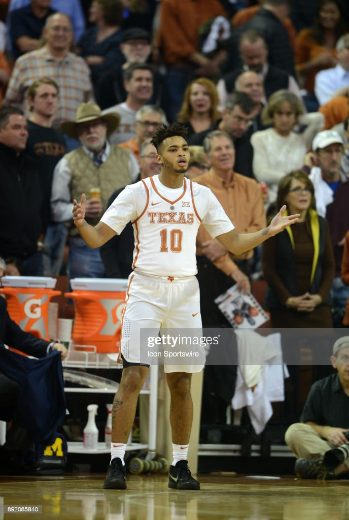 Texas Longhorns guard Eric Davis Jr. (10) shows his frustration during 59 - 52 loss to the Michigan Wolverines on December 12, 2017 at the Frank Erwin Center in Austin, TX.