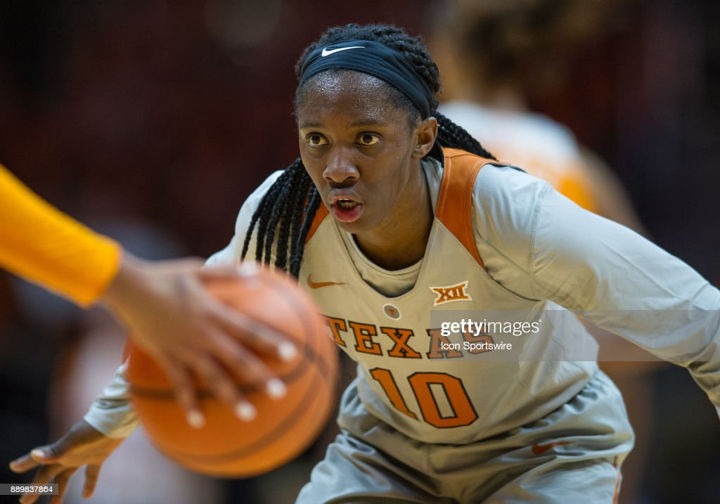 Texas Longhorns guard Lashann Higgs (10) playing defense during a game between the Texas Longhorns and Tennessee Lady Volunteers on December 10, 2017, at Thompson-Boling Arena in Knoxville, TN. Tennessee defeated Texas 82-75.