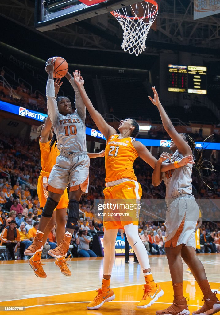 Texas Longhorns guard Lashann Higgs (10) shoots over Tennessee Lady Volunteers center Mercedes Russell (21) during a game between the Texas Longhorns and Tennessee Lady Volunteers on December 10, 2017, at Thompson-Boling Arena in Knoxville, TN. Tennessee defeated Texas 82-75.