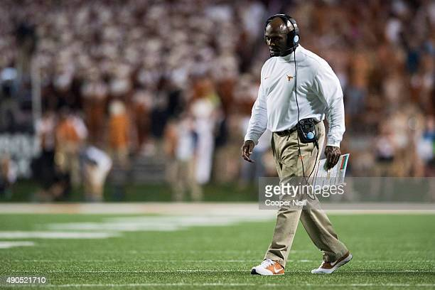 Texas Longhorns head coach Charlie Strong looks on against the California Golden Bears on September 19 2015 at Darrell K RoyalTexas Memorial Stadium...