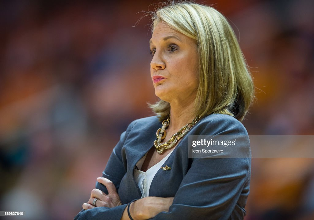 Texas Longhorns head coach Karen Aston during a game between the Texas Longhorns and Tennessee Lady Volunteers on December 10, 2017, at Thompson-Boling Arena in Knoxville, TN. Tennessee defeated Texas 82-75.