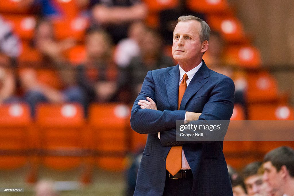 Texas Longhorns head coach Rick Barnes looks on against the TCU Horned Frogs on January 19 2015 at WilkersonGreines AC in Fort Worth Texas