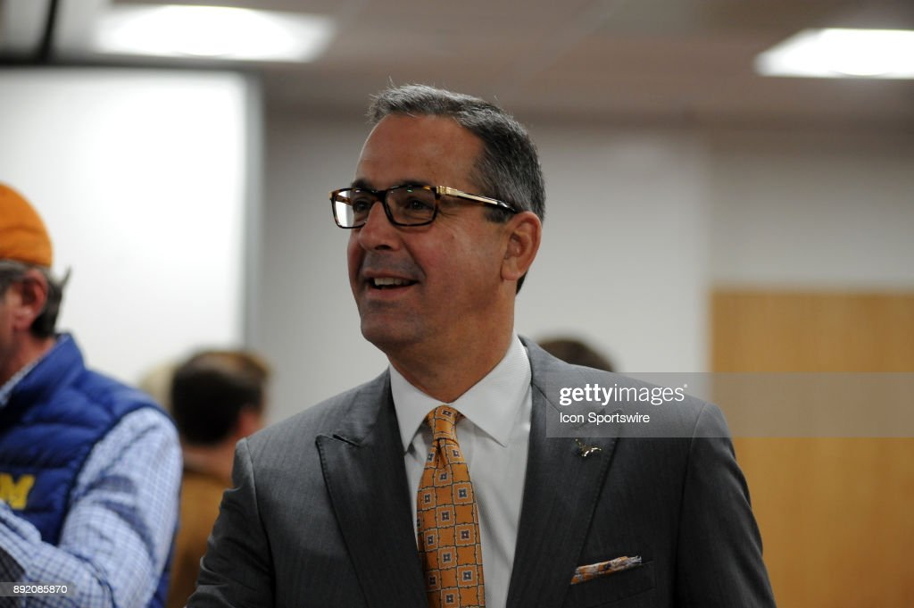 Texas Longhorns new athletic director Chris Del Conte chats with fans during the Texas Longhorns 59 - 52 loss to the Michigan Wolverines on December 12, 2017 at the Frank Erwin Center in Austin, TX.
