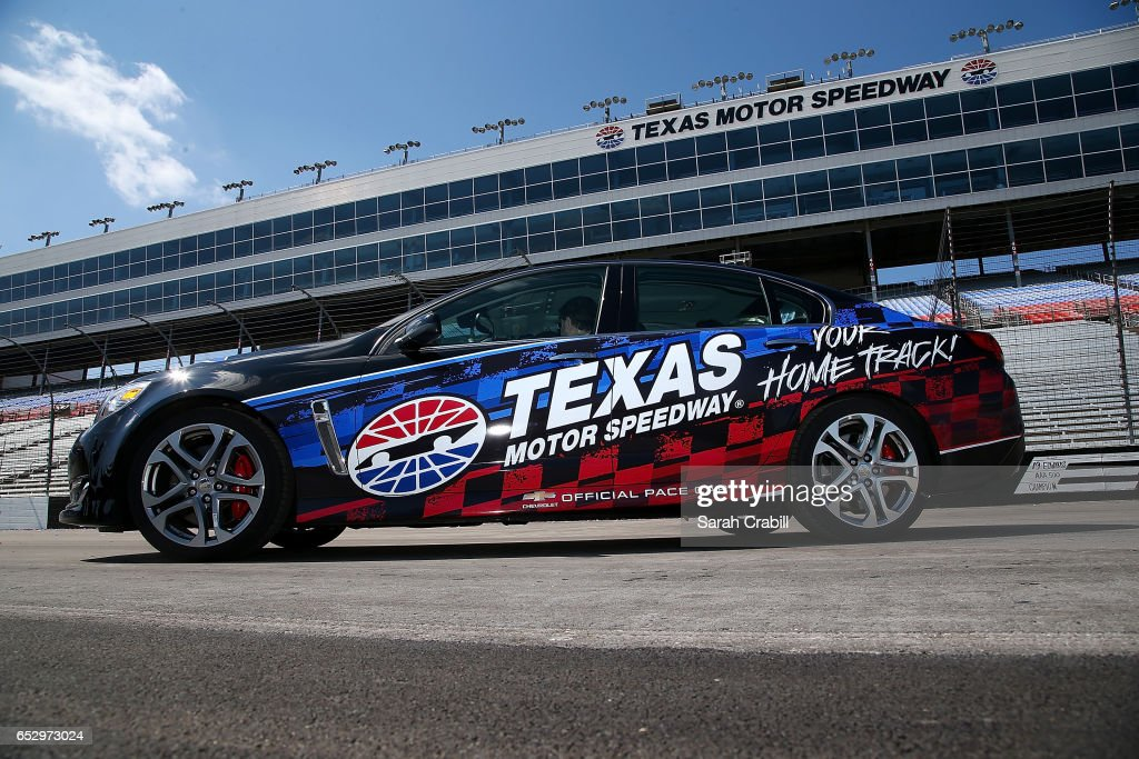 Texas Motor Speedway President, Eddie Gossage, Monster Energy NASCAR Cup Series driver for JTG Daugherty Racing, Chris Buescher, and Verizon IndyCar Series driver and owner for Ed Carpenter Racing, Ed Carpenter give media pace car rides during the Texas Motor Speedway Track Renovation Unveiling at Texas Motor Speedway on March 13, 2017 in Fort Worth, Texas.