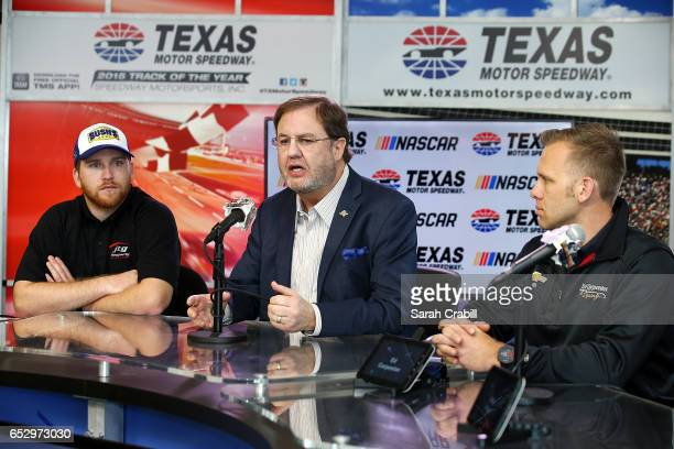 Texas Motor Speedway President Eddie Gossage Monster Energy NASCAR Cup Series driver for JTG Daugherty Racing Chris Buescher and Verizon IndyCar...