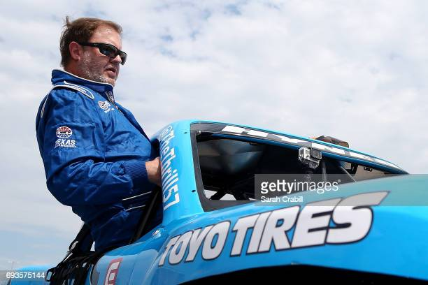 Texas Motor Speedway president Eddie Gossage participates during Speed Energy Super Trucks ridealongs with former NASCAR/INDYCAR star Robby Gordon at...