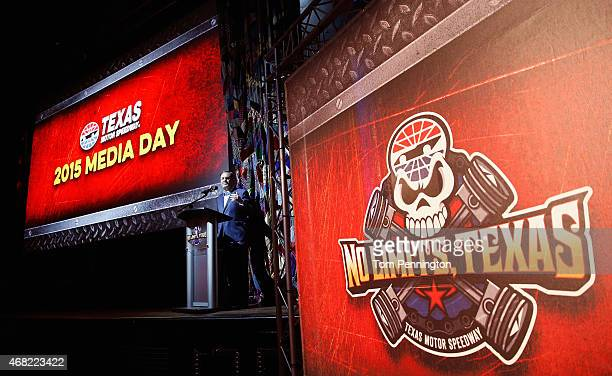 Texas Motor Speedway President Eddie Gossage welcomes members of the media and fans to Texas Motor Speedway 2015 Media Day at House of Blues on March...