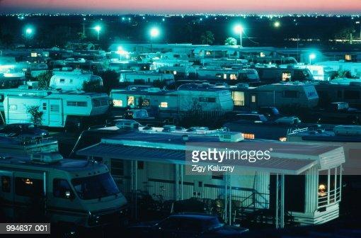 USA Texas Pharr Mobile Home Park Illuminated At Night Stock Photo