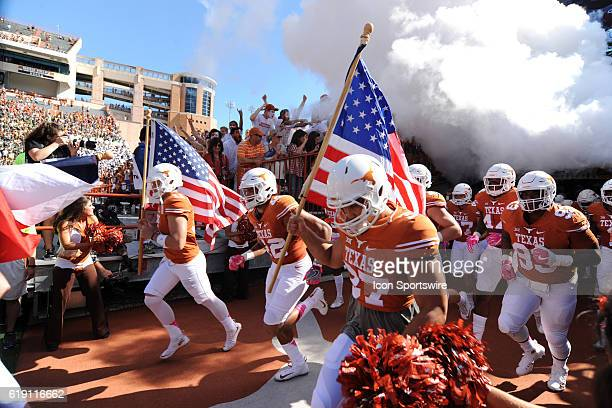 Texas players emerge from the end zone prior to start of NCAA game between Baylor and Texas on October 29 2016 at Darrell K Royal Texas Memorial...