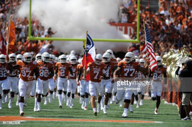 Texas players enter the field prior to start of game between the Texas Longhorns and the Maryland Terrapins on September 2 2017 at Darrell K...