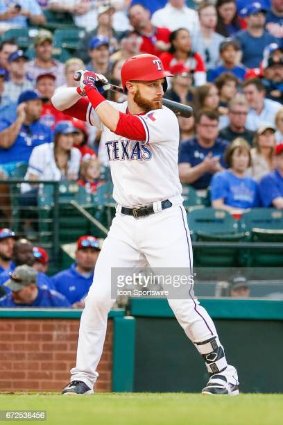 Texas Rangers Catcher Jonathan Lucroy bats during the MLB game between the Minnesota Twins and Texas Rangers on April 24 2017 at Globe Life Park in...
