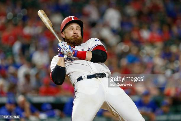 Texas Rangers Catcher Jonathan Lucroy is brushed back by a pitch during the MLB game between the Toronto Blue Jays and Texas Rangers on June 19 2017...