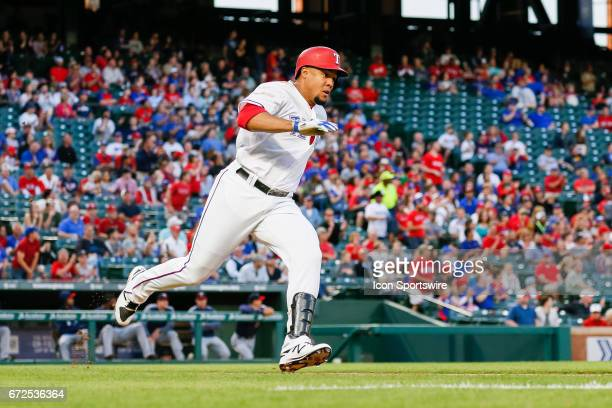 Texas Rangers Center field Carlos Gomez hits a double during the MLB game between the Minnesota Twins and Texas Rangers on April 24 2017 at Globe...