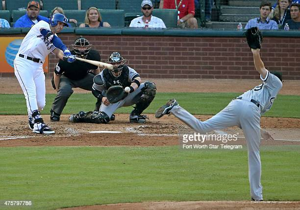 Texas Rangers designated hitter Joey Gallo strikes out against Chicago White Sox starting pitcher Chris Sale in the second inning at Globe Life Park...