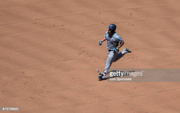 Texas Rangers Designated hitter Mike Napoli heads to 3rd base after hitting a homer during the MLB regular season match between the Texas Rangers and...