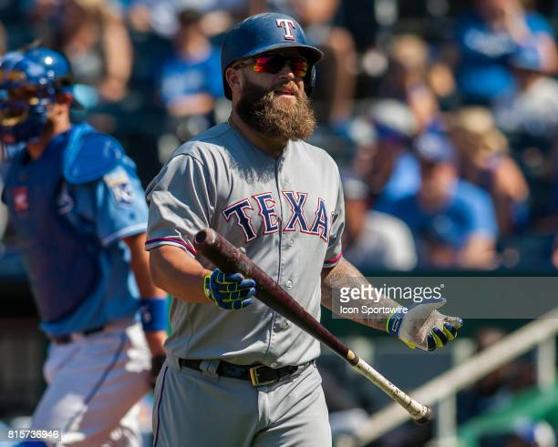 Texas Rangers Designated hitter Mike Napoli reacts after striking out at the plate during the MLB regular season match between the Texas Rangers and...
