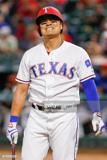 Texas Rangers Designated hitter ShinSoo Choo reacts after a pitch during the MLB game between the Minnesota Twins and Texas Rangers on April 24 2017...