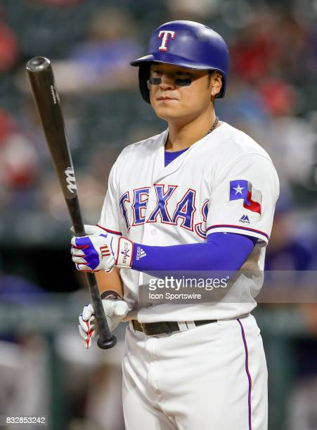 Texas Rangers DH ShinSoo Choo gets ready to bat during the MLB game between the Detroit Tigers and Texas Rangers on August 15 2017 at Globe Life Park...