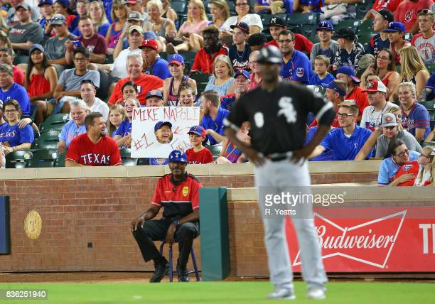 Texas Rangers fan shows his support during the in the ninth inning against the Chicago White Sox at Globe Life Park in Arlington on August 19 2017 in...